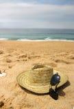 De hoed van de zeekust en van het stro Royalty-vrije Stock Foto's