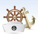 De Hoed van de zeeman met Stuurwiel en Anker Royalty-vrije Stock Afbeelding