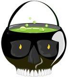 De hoed van de heksen` s bowlingspeler met een drankje voor Halloween, op een geïsoleerde achtergrond royalty-vrije illustratie