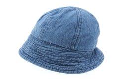 De hoed van het denim op wit Royalty-vrije Stock Foto's
