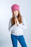 De hoed van het kindmeisje Stock Afbeelding