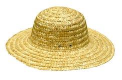 De hoed van het stro op wit Stock Foto