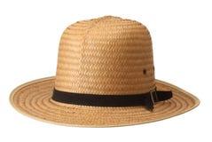 De hoed van het stro op witte achtergrond Stock Afbeeldingen