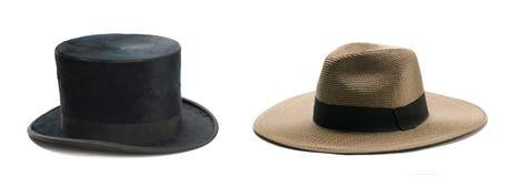 De hoed van hoge zijden en van het stro Stock Afbeeldingen