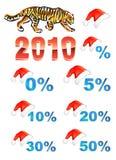 De hoed van Kerstmis, kortingen, tijger Royalty-vrije Stock Afbeeldingen