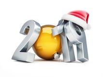De hoed van nieuwjaar 2019 santa op een witte 3D illustratie als achtergrond, het 3D teruggeven Royalty-vrije Stock Fotografie