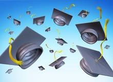 De hoeden van de graduatie in de lucht Stock Afbeelding