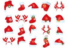 De hoeden van de Kerstman royalty-vrije stock foto