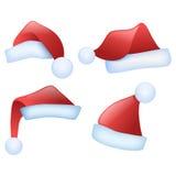 De hoeden van de kerstman Royalty-vrije Stock Afbeeldingen