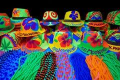 De hoeden van de partij bij volle maannacht in Thailand Stock Foto's