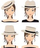 De hoeden van de zomer Stock Afbeeldingen