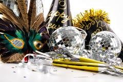 De hoeden van het masker en van de partij voor de Vooravond van Nieuwjaren Stock Foto