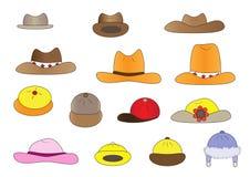 De hoeden van het verscheidenheidsbeeldverhaal Stock Afbeeldingen