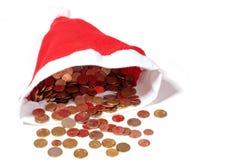 De hoedenhoogtepunt van Kerstmis van euro geldmuntstukken Stock Fotografie