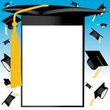 De hoedenkaart van de graduatie Stock Fotografie