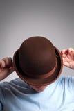 De hoedenmens van de bowlingspeler Stock Afbeeldingen