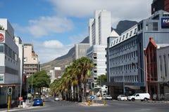 De hoek van de straten van Buitengracht en Wale-in de stad van Cape Town ` s Royalty-vrije Stock Fotografie