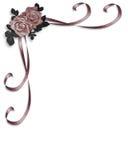 De Hoek van de Uitnodiging van het Huwelijk van rozen Stock Afbeeldingen
