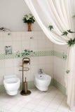 De hoek van het toilet in de badkamers Royalty-vrije Stock Afbeelding