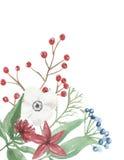 De Hoekbloemstuk Feestelijk Jolly Floral Hand Painted Holidays van waterverfkerstmis Royalty-vrije Stock Fotografie