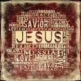 Jesus Religious Words op grungeachtergrond royalty-vrije stock afbeelding
