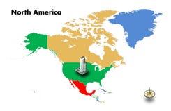 de hoge bouw bij de V.S. op de kaart van Noord-Amerika Stock Fotografie