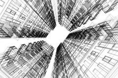 De hoge de bouw abstracte, 3d illustratie van de structuurarchitectuur, architectuurtekening Royalty-vrije Stock Afbeeldingen