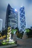 De hoge gebouwen van het stijgings moderne bureau in Hong Kong Stock Afbeeldingen
