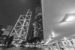 De hoge gebouwen van het stijgings moderne bureau in Hong Kong-stad Stock Afbeelding
