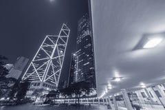 De hoge gebouwen van het stijgings moderne bureau in Hong Kong-stad Stock Foto