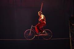 De hoge handeling van het draadcircus met fiets Royalty-vrije Stock Foto's