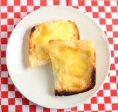 De hoge hoek van de toast met gesmolten kaas Royalty-vrije Stock Fotografie