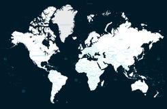 De hoge kaart van de detail politieke wereld en grote steden Vector vector illustratie