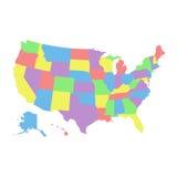 De hoge kaart van de detailv.s. met verschillende kleuren voor elk land De Kaart van de Verenigde Staten van Amerika de kaart van Royalty-vrije Stock Foto's