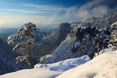 De hoge omhoog bovenkant van de sneeuwberg royalty-vrije stock fotografie