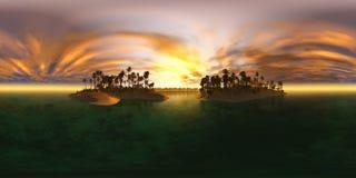 De Hoge resolutiekaart van HDRI Milieukaart, het tropische strand van de eilandarchipel met palmen, strand met palmen Stock Foto's