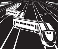 De hoge snelheidstrein vertrekt van een station stock illustratie