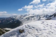 De hogere delen van de bergen in de lente zijn nog in de sneeuw Royalty-vrije Stock Fotografie