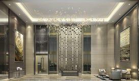 In de hogere flat in van de de luxefamilie van Shanghai van de de badkamers Warme kleur Eenvoudige de stijlstijl, melkachtige wit Royalty-vrije Stock Foto's