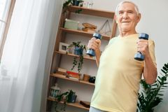 De hogere gezondheidszorg van de mensenoefening thuis met domoren het glimlachen Stock Afbeelding