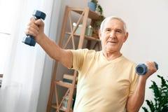 De hogere gezondheidszorg van de mensenoefening thuis met domoren zijaanzicht Stock Foto