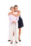 De hogere grootmoeder van de kleindochter Stock Foto's