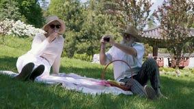 De hogere mens fotografeert zijn elegantievrouw bij camera bij de picknick in park stock video