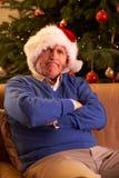 De hogere Mens kleedde zich als Kerstman Royalty-vrije Stock Afbeelding