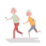 De hogere mensen rennen weg Bejaarde dat met armband voor jogging in werking wordt gesteld De volwassen activiteiten van de mense vector illustratie