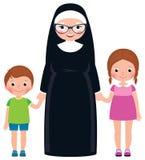 De hogere nonholding overhandigt jongen en meisjeskinderen stock illustratie