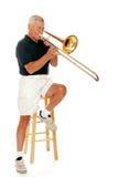 De hogere Speler van de Trombone Stock Afbeeldingen