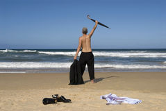 De hogere vrijheid van de zakenmanpensionering, strandvakantie, exemplaarruimte Royalty-vrije Stock Foto