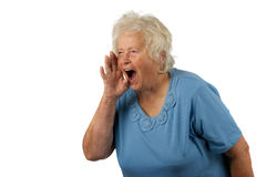 De hogere vrouw schreeuwt luid royalty-vrije stock foto