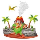 De holbewoner die met de dinosaurussen dichtbij de vulkaan speelt stock illustratie